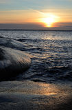 Sea winter sunset in vertical view Royalty Free Stock Image
