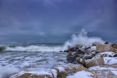 Sea winter wave Stock Image
