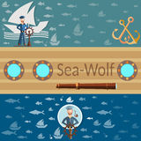 Sea wolf, sea and ocean,sailor and ships, banners vector illustration