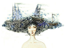 Sea woman. Painting of woman with sea in her hear Royalty Free Stock Photos