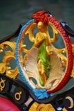 Sea woman golden sculpture of a gondola, Venice stock image