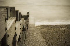 Sea and wood. English channel and a wooden cover royalty free stock photography