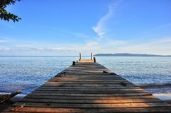 Sea. Wood bridge sky Royalty Free Stock Photography