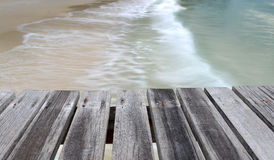 Sea wooden bridge in the morning of rainy Royalty Free Stock Photo