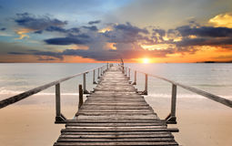 Sea wooden bridge in the morning Stock Images