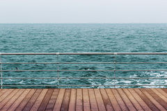 Sea and wooden floor Stock Photo