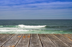 Sea and wooden platform Stock Photos