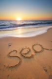 Sea word on the beach Royalty Free Stock Photos