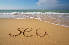 Sea word on the beach Stock Images