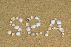 Sea. Word sea written on the sand with the shells Royalty Free Stock Photo