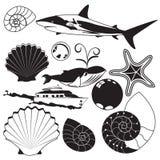 Sea world black collection. Vector illustration of different sea world black collection isolated over white background vector illustration