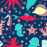 Sea world seamless pattern Royalty Free Stock Photo