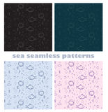 Sea world seamless pattern. Sea world with diver head fish and bubbles seamless pattern dark and light colored background vector design Stock Images