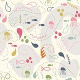 Sea world seamless pattern Stock Photo
