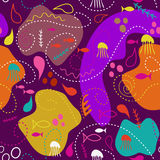 Sea world seamless pattern, under water world wallpaper with fish,octopus and vegetation. Stock Photo