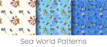 Sea World Seamless Patterns Set. Patterns on the nautical theme for the fabric and anything. Bright patterns of marine life Stock Images