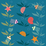 Sea world. Vector pattern with shells and jellyfishes Stock Images
