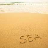 Sea - written by hand in sand on a sea beach, with a soft wave. Travel. Stock Photos