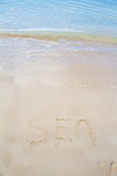 Sea written in the sand Royalty Free Stock Photography