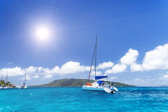 Sea yacht in azure water. Stock Photos