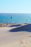 Sea yacht dunes Stock Image