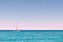 Sea yacht horizon Royalty Free Stock Images