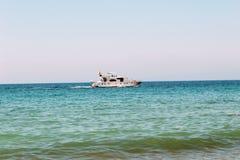 The sea yacht moves along the sea surface Antalya, Turkey Stock Images