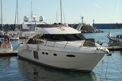 Sea yacht are at the pier in the port stock photography