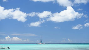 By sea yacht sails. Clouds the sun stock video footage