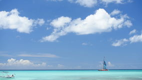 By sea yacht sails. Clouds the sun stock video
