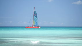 By sea yacht sails. Clouds the sun stock footage