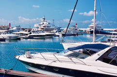 Sea yachts in dock Stock Photos