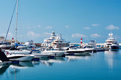 Sea yachts in dock Royalty Free Stock Photos