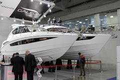 Sea Yachts Galeon for 10 International boat show in Moscow. Russ Royalty Free Stock Photography