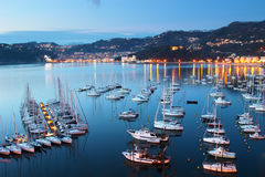 Sea yachts in the night Stock Photography