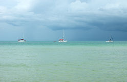 Sea with yachts before storm Royalty Free Stock Images