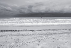 Seaa and beach, Black and white tone Royalty Free Stock Photo