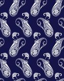 SeaaSeamless traditional indian vector paisley pattern on blue backgroundmless traditional indian vector paisley pattern. Seamless traditional indian vector Stock Photography
