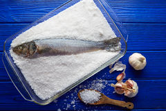 Seabass baked in sea salt seabass crusted Royalty Free Stock Photography