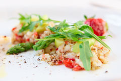 Seabass carpaccio with strawberry Royalty Free Stock Photo
