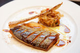 Seabass cooked in asian style Royalty Free Stock Images