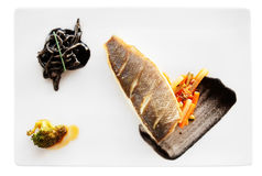 Seabass cooked in a modern way Stock Photo