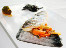 Seabass cooked in a modern way Royalty Free Stock Photography