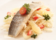 Seabass with fennel salad Royalty Free Stock Photos