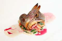 Seabass fillet in plate Stock Image