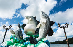 Seabass  fish jumping  joyfully  , beautiful sky Stock Photo