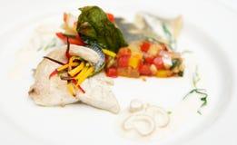 Seabass haute cuisine dish Royalty Free Stock Photos