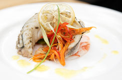 Seabass haute cuisine dish Royalty Free Stock Images