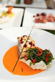 Seabass haute cuisine dish Stock Images