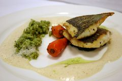 Seabass main course Stock Image